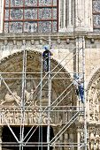 Workers At Reconstruction Of Chartres Cathedral