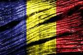 foto of chad  - Chad Flag on old wood texture background - JPG