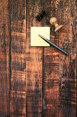 Office Tools On Brown Wooden Background