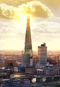 London sunset. Shard of glass