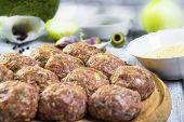 Raw Meat Balls Minced Beef Prepared Roll Breadcrumbs