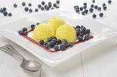 Lemon Ice Cream And Blueberries