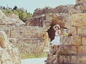 Woman Traveler At Ancient Ruins At Carthage