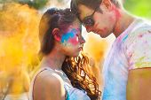 Couple In Love On Holi Color Festival