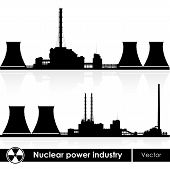 Nuclear power plants silhouette isolated on white. Vector illustration.