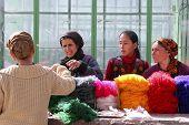 Ashgabat, Turkmenistan - February 26. Women On A Market Buy A Yarn. Ashgabat, Turkmenistan - Februar