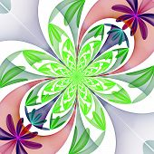 Fabulous Diagonal Pattern Of The Petals. Green And Purple Palette. Computer Generated Graphics.