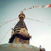 Buddhist Shrine Swayambhunath Stupa - Vintage Filter.