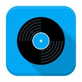 Music Vinyl Disc Flat App Icon With Long Shadow