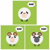 Sheep And Ram With Speech Bubble Modern Flat Design. Collection Set