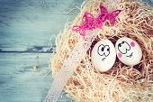 White egg with funny face