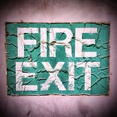 Grunge Fire Exit Sign