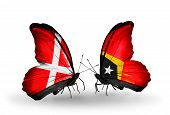 Two Butterflies With Flags On Wings As Symbol Of Relations Denmark And East Timor