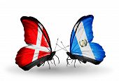 Two Butterflies With Flags On Wings As Symbol Of Relations Denmark And Guatemala