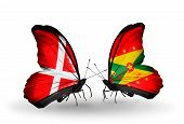 Two Butterflies With Flags On Wings As Symbol Of Relations Denmark And Grenada