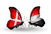 Two Butterflies With Flags On Wings As Symbol Of Relations Denmark And Yemen