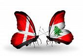 Two Butterflies With Flags On Wings As Symbol Of Relations Denmark And Lebanon