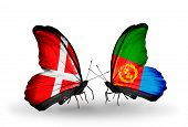 picture of eritrea  - Two butterflies with flags on wings as symbol of relations Denmark and Eritrea - JPG