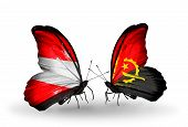 Two Butterflies With Flags On Wings As Symbol Of Relations Austria And Angola