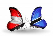 Two Butterflies With Flags On Wings As Symbol Of Relations Austria And Botswana
