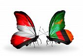 Two Butterflies With Flags On Wings As Symbol Of Relations Austria And Zambia