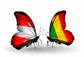 Two Butterflies With Flags On Wings As Symbol Of Relations Austria And Mali
