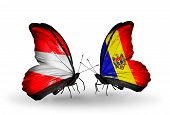 Two Butterflies With Flags On Wings As Symbol Of Relations Austria And Moldova