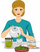 Illustration of a Woman Preparing Organic Tea