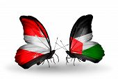 Two Butterflies With Flags On Wings As Symbol Of Relations Austria And Palestine