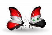 Two Butterflies With Flags On Wings As Symbol Of Relations Austria And Syria