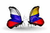 Two Butterflies With Flags On Wings As Symbol Of Relations Russia And Venezuela