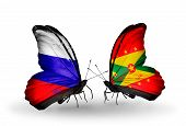 Two Butterflies With Flags On Wings As Symbol Of Relations Russia And Grenada