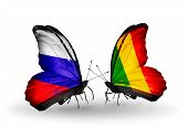 Two Butterflies With Flags On Wings As Symbol Of Relations Russia And Mali