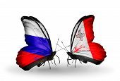Two Butterflies With Flags On Wings As Symbol Of Relations Russia And Malta