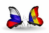 Two Butterflies With Flags On Wings As Symbol Of Relations Russia And Moldova