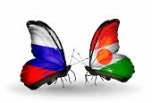 Two Butterflies With Flags On Wings As Symbol Of Relations Russia And Niger
