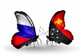 picture of papua new guinea  - Two butterflies with flags on wings as symbol of relations Russia and Papua New Guinea - JPG