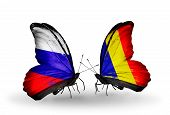 Two Butterflies With Flags On Wings As Symbol Of Relations Russia And Chad, Romania