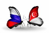 Two Butterflies With Flags On Wings As Symbol Of Relations Russia And Singapore