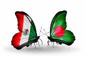 Two Butterflies With Flags On Wings As Symbol Of Relations Mexico And Bangladesh