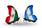Two Butterflies With Flags On Wings As Symbol Of Relations Mexico And Guatemala