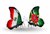 Two Butterflies With Flags On Wings As Symbol Of Relations Mexico And Dominica