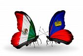 Two Butterflies With Flags On Wings As Symbol Of Relations Mexico And Liechtenstein