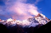Mount Machapuchare (Fishtail) at sunset, Nepal