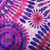 Fabric Background With Purple, Lilac, Pink And Blue Pattern