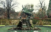 pic of garden sculpture  - The famous fountain with Pegasus sculpture in Mirabell Gardens in Salzburg - JPG