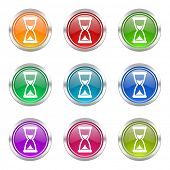 time icons set hourglass sign