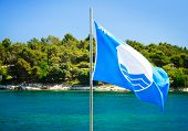 Blue Flag on Summer Sea Background