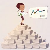 Vector Illustration of Office woman showing a graph. Flat style
