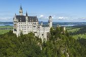 foto of bavarian alps  - Neuschwanstein Castle turrets poking above surrounding trees. Bavarian Alps Germany Europe. Portrait